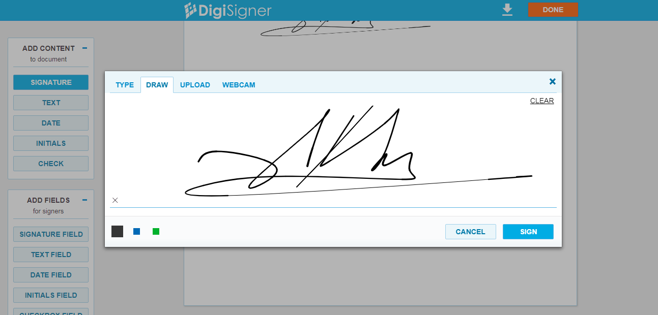How to add a signature in general contract