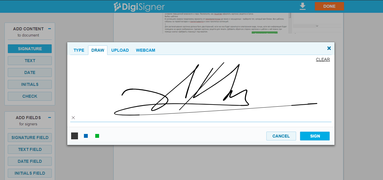 A guide image about creating esignature in DigiSigner service